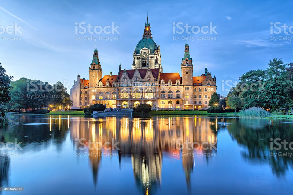 New City Hall of Hannover in the evening stock photo