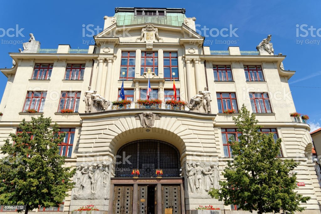 New City Hall, Prague, Czech Republic. stock photo
