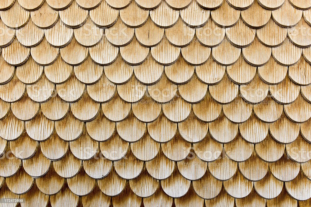 New clapboard rounded shingles stock photo