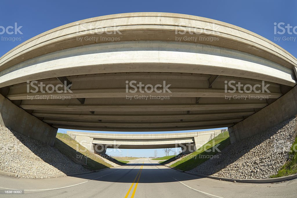 New Clean Highway Overpass, Fisheye Perspective royalty-free stock photo