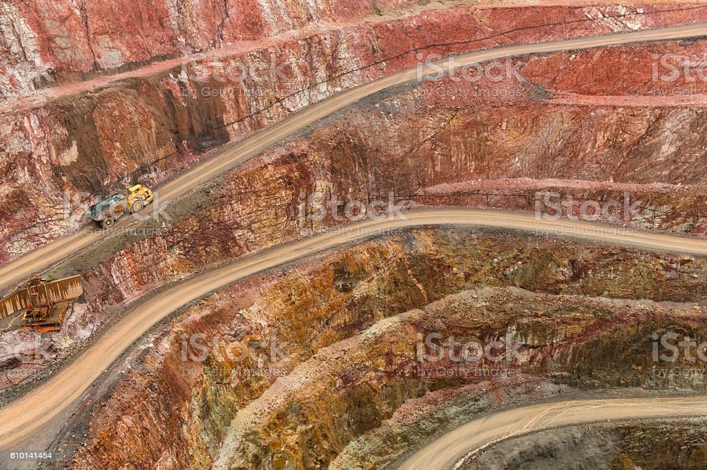 Gold mine, with Haul truck driving up road, located in Cobar NSW...