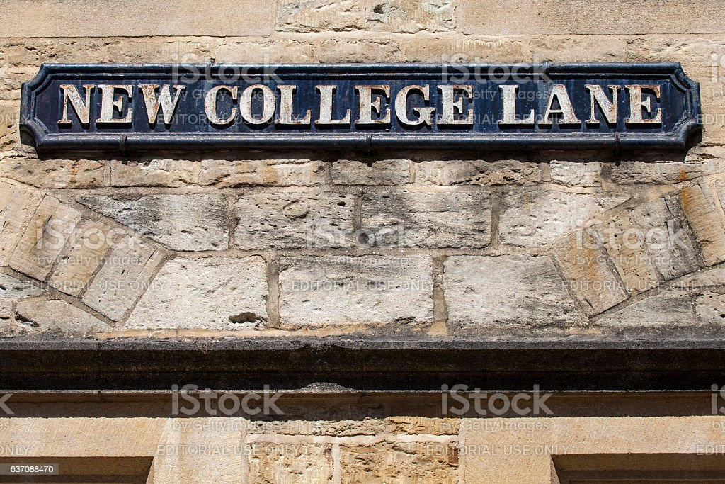 New College Lane in Oxford stock photo