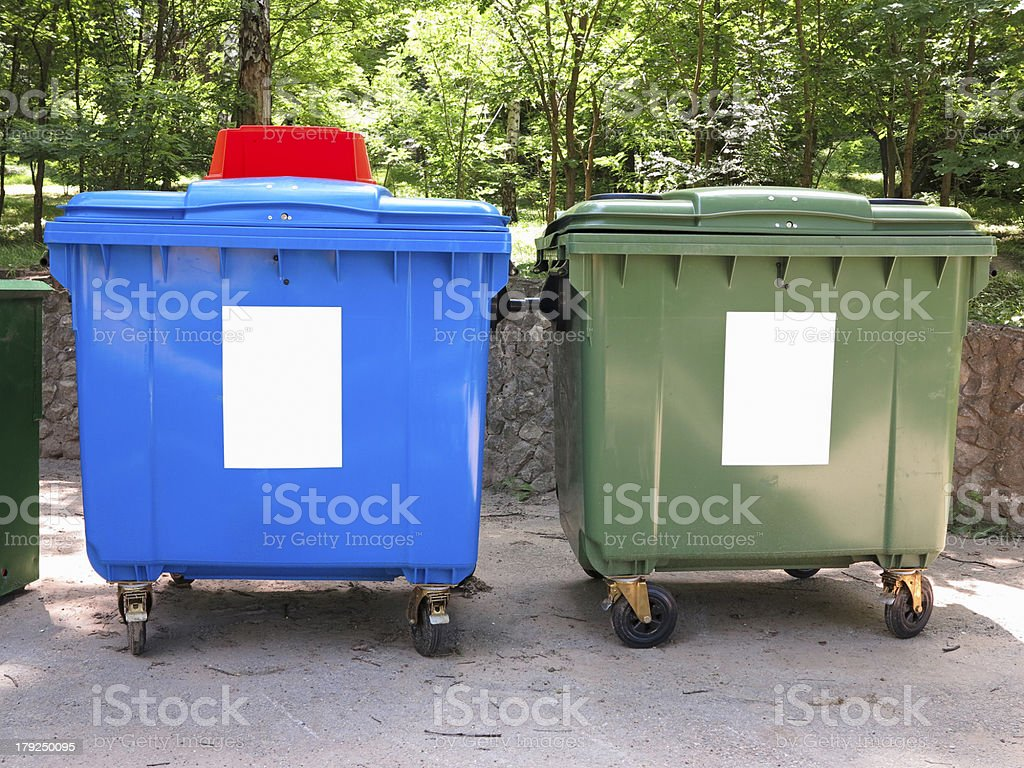 New colorful plastic garbage containers royalty-free stock photo