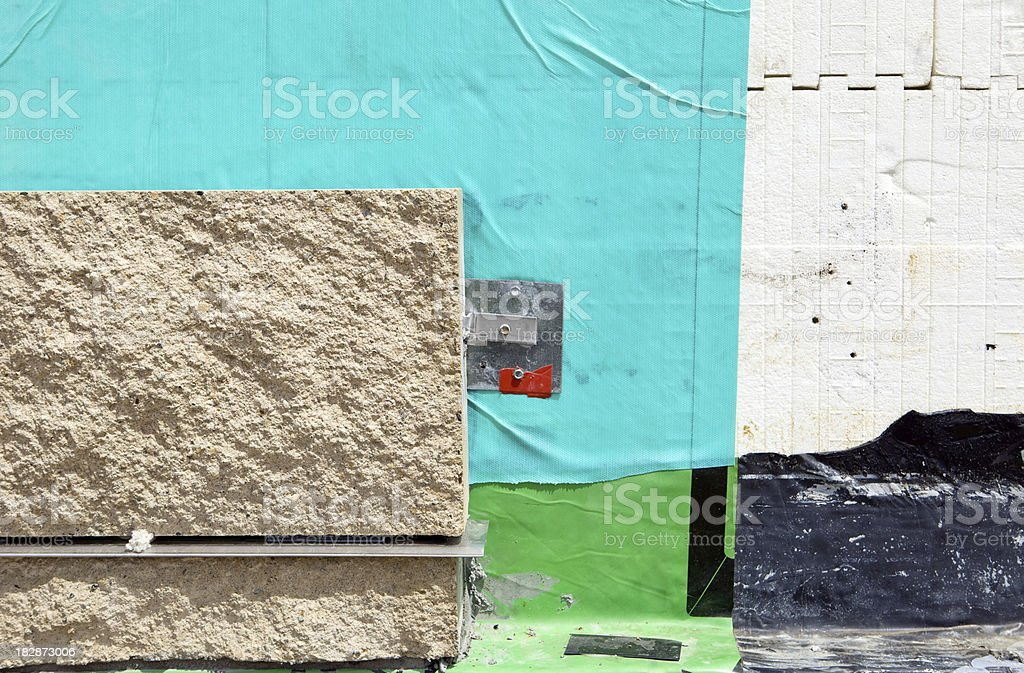New Commercial Construction Exterior Wall Section stock photo