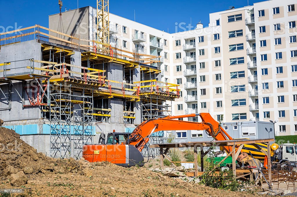 New complex of apartment buildings under construction stock photo