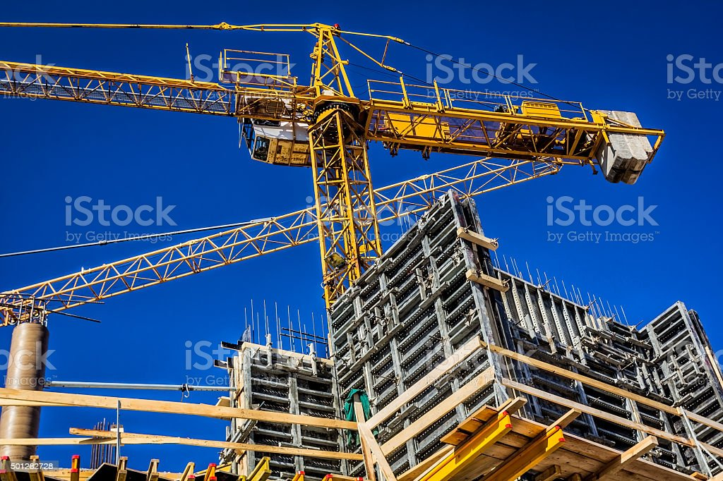 New concrete building under construction stock photo