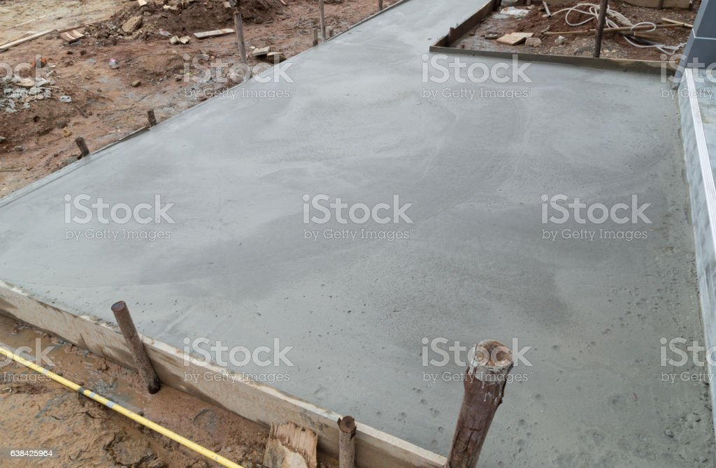 new concrete floor after poured cement stock photo