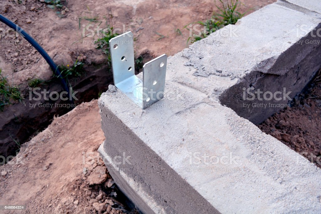 new concrete house foundation corner  and trench stock photo