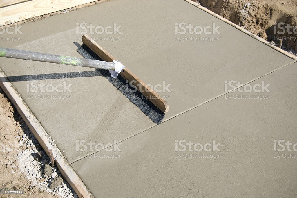 New concrete sidewalk being constructed stock photo