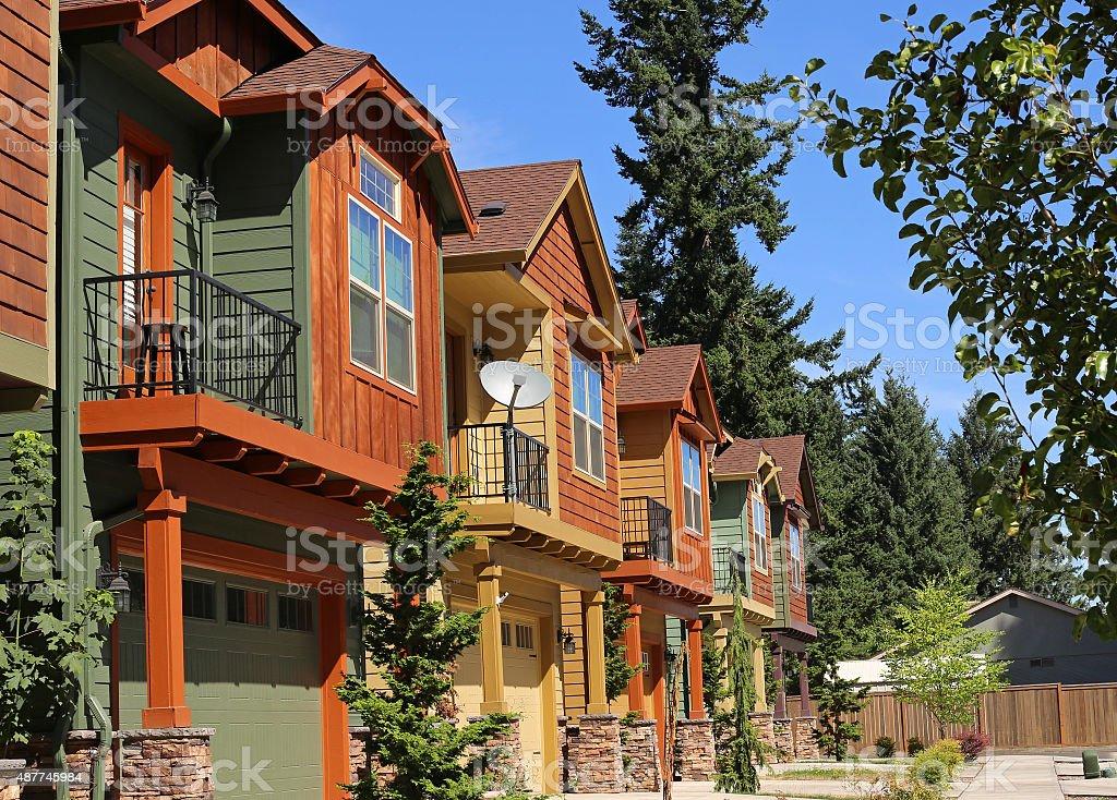 New condominium apartments in suburban neighborhood stock photo