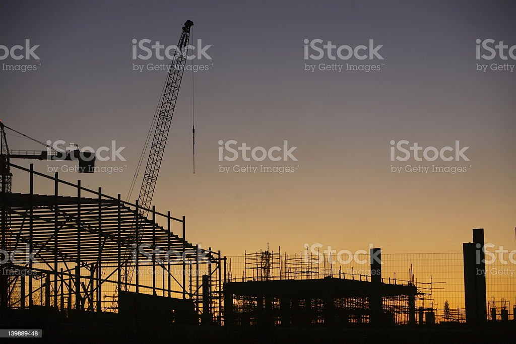 New construction being done at the sunset royalty-free stock photo