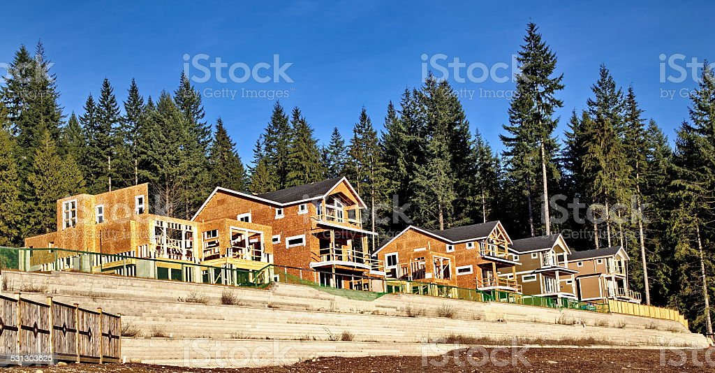 New Construction Framing and Foundation stock photo
