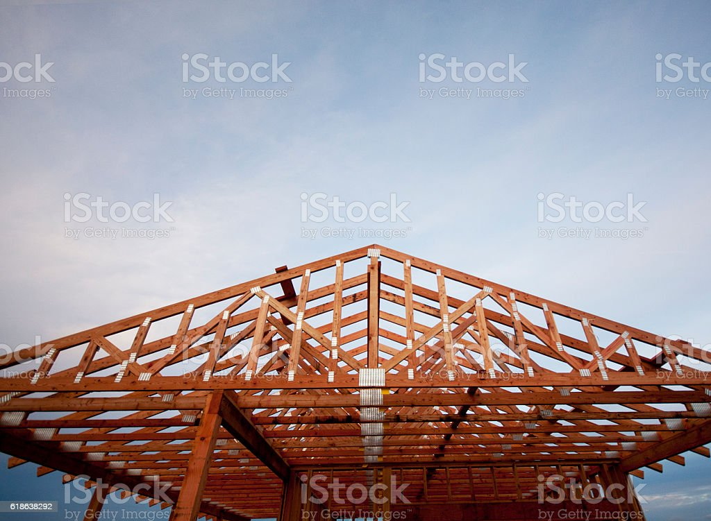 New Construction - Garage and Carport Roof stock photo