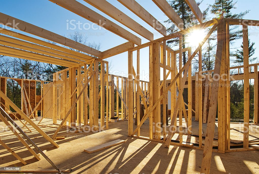 New construction house framing stock photo