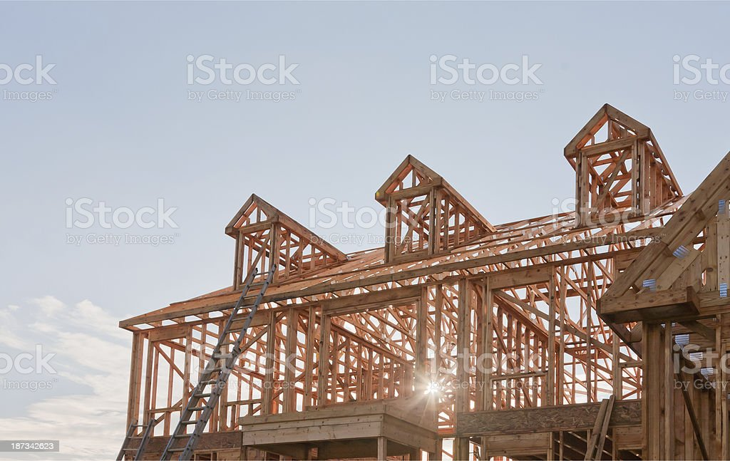 New Residential House Construction with wood framing and roof trusses...