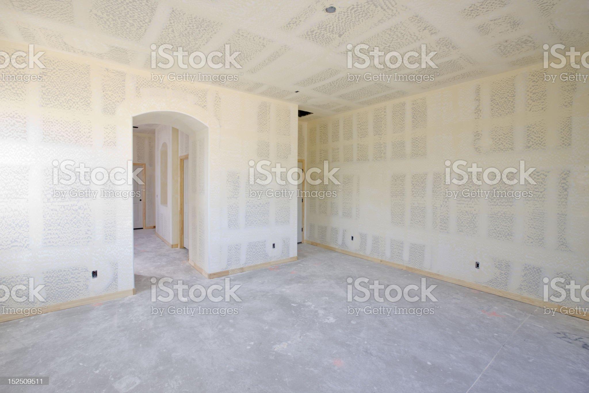 New Construction Interior Drywall Empty Room royalty-free stock photo