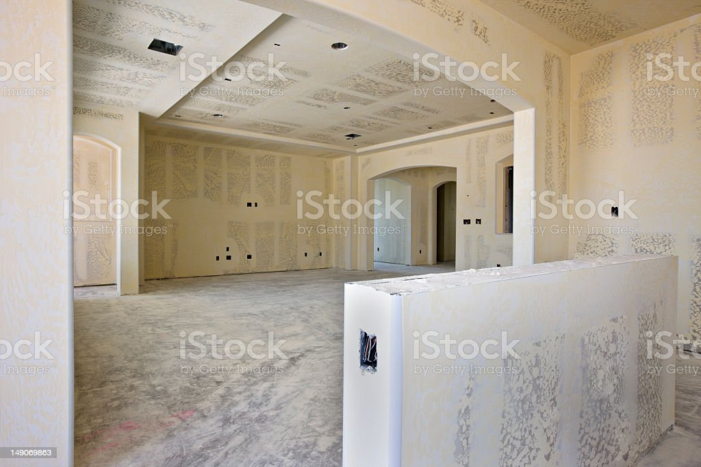 New construction interior of an empty room and new drywall royalty-free stock photo
