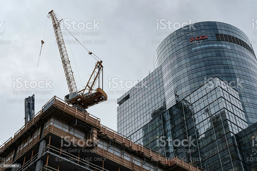 New Construction Next To An Existing Office Block stock photo