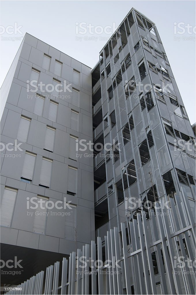New construction of buildings and prefabricated houses stock photo