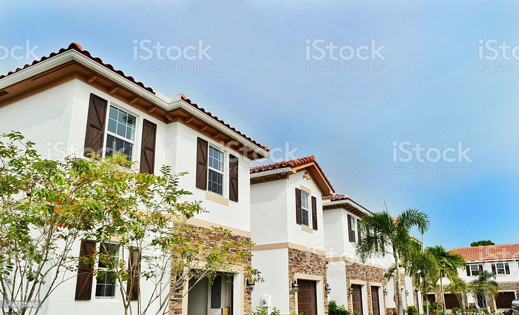 New construction townhomes stock photo