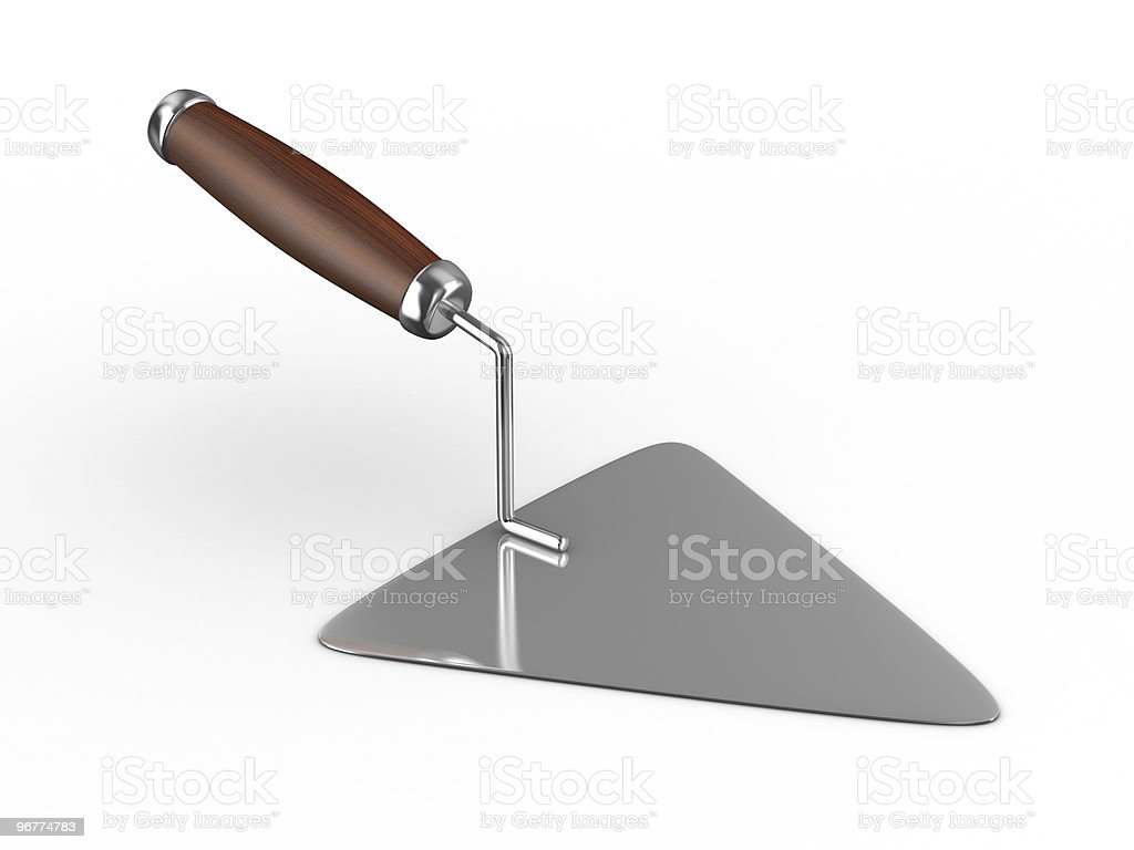 new construction trowel isolated on white. 3D image royalty-free stock photo