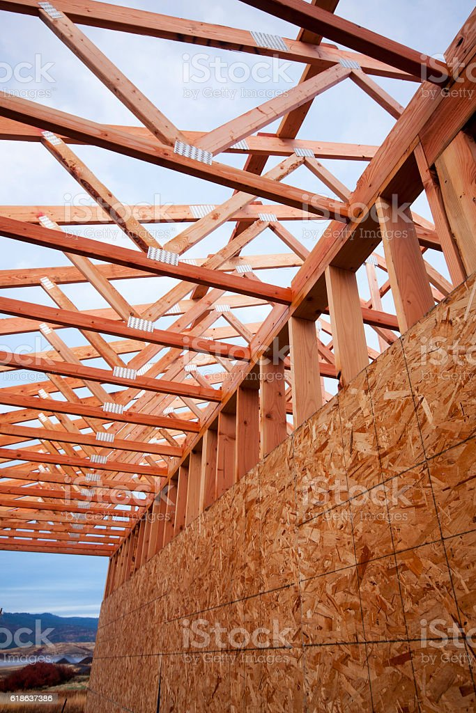 New Construction - Wall and Roof stock photo
