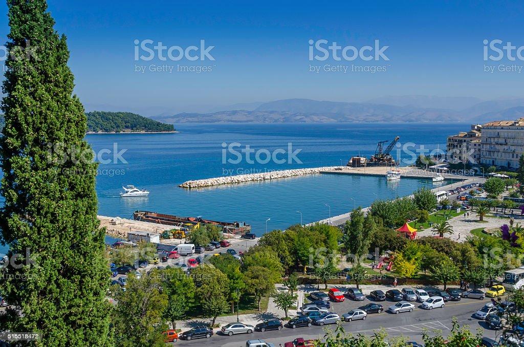 New Corfu Harbour stock photo
