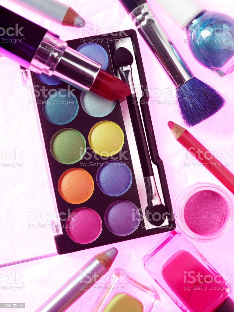 New Cosmetics with Brushes stock photo