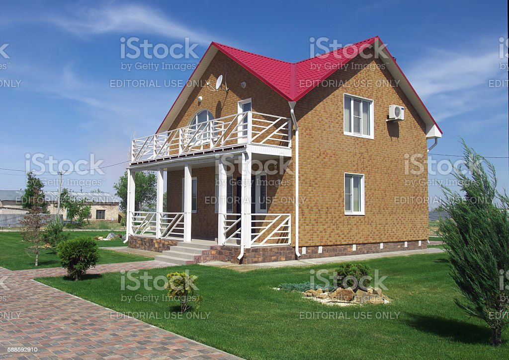 New cottage in resort 'Elton' Volgograd region stock photo