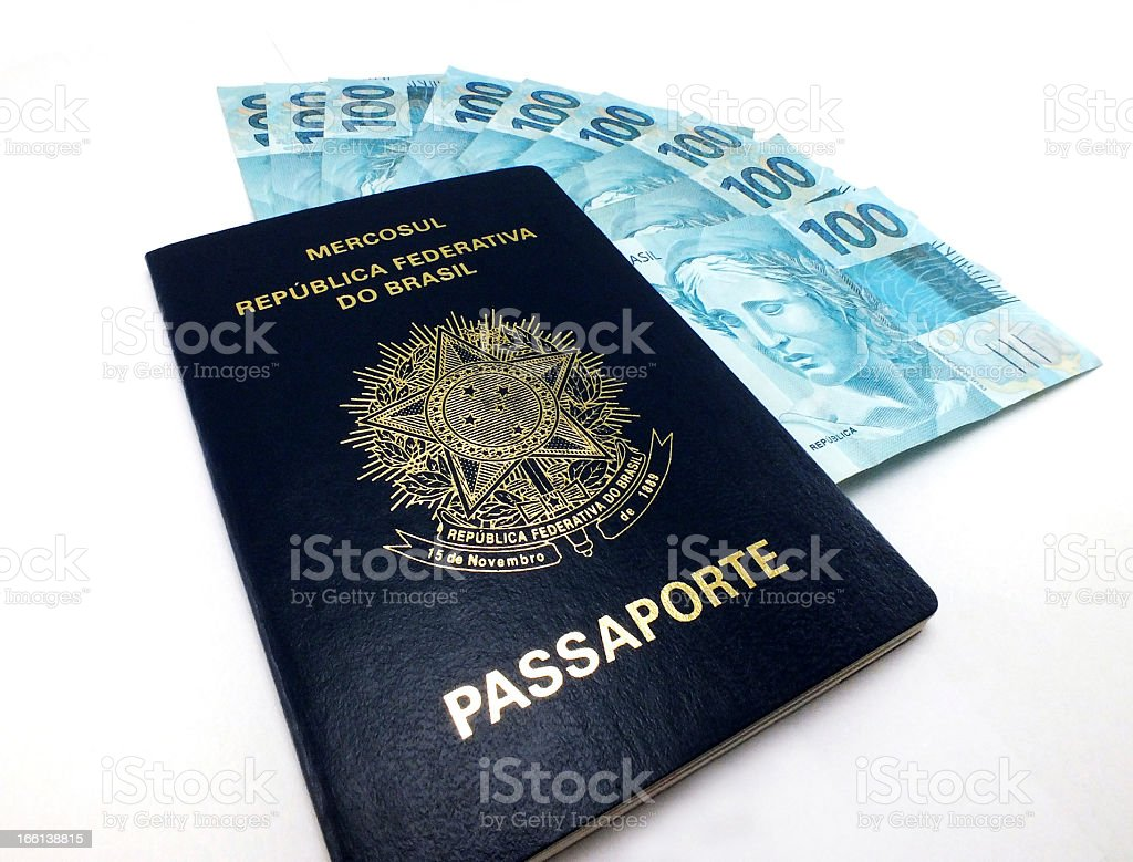 New currency from Brazil and brazilian passport royalty-free stock photo