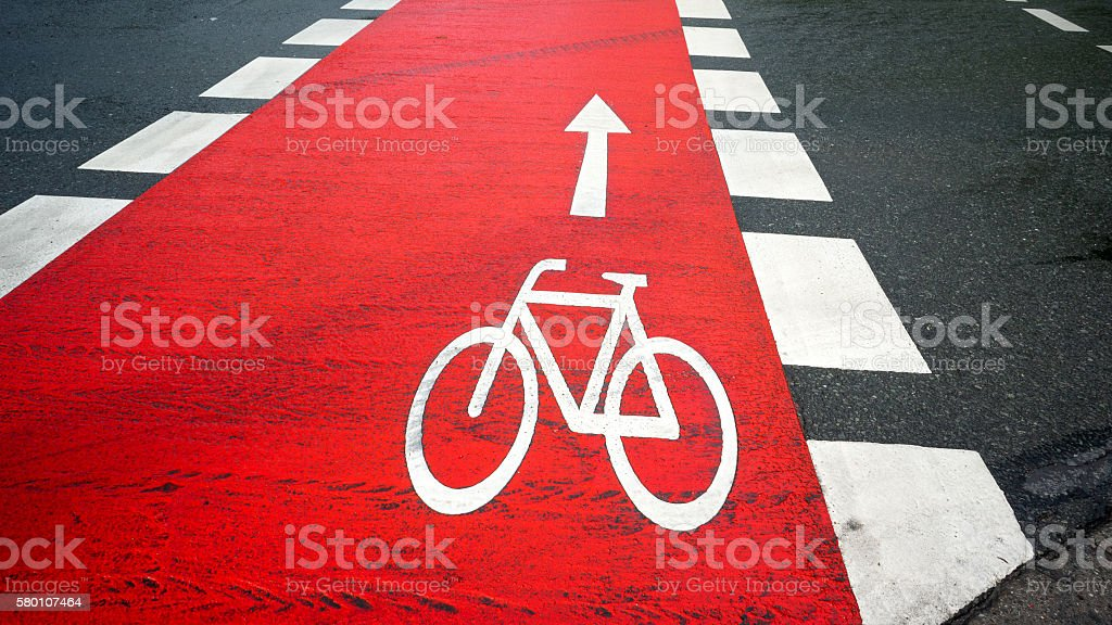 New cycle path stock photo