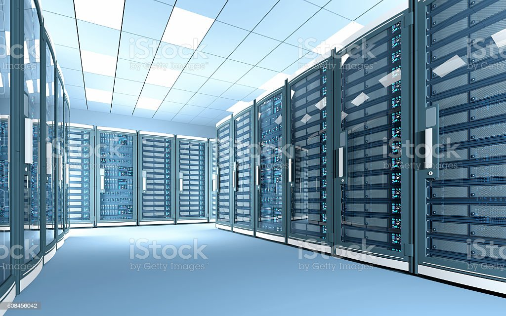 New data center with rows of network servers, bright illumination stock photo