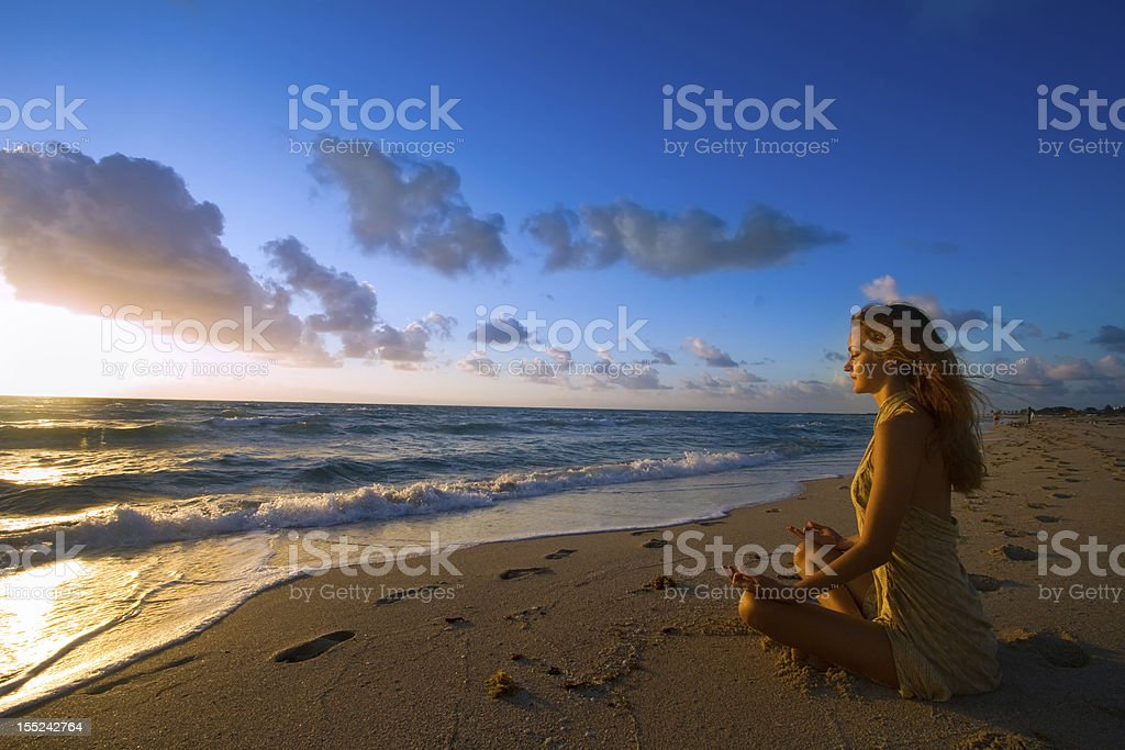 New Day Begins with Meditation stock photo