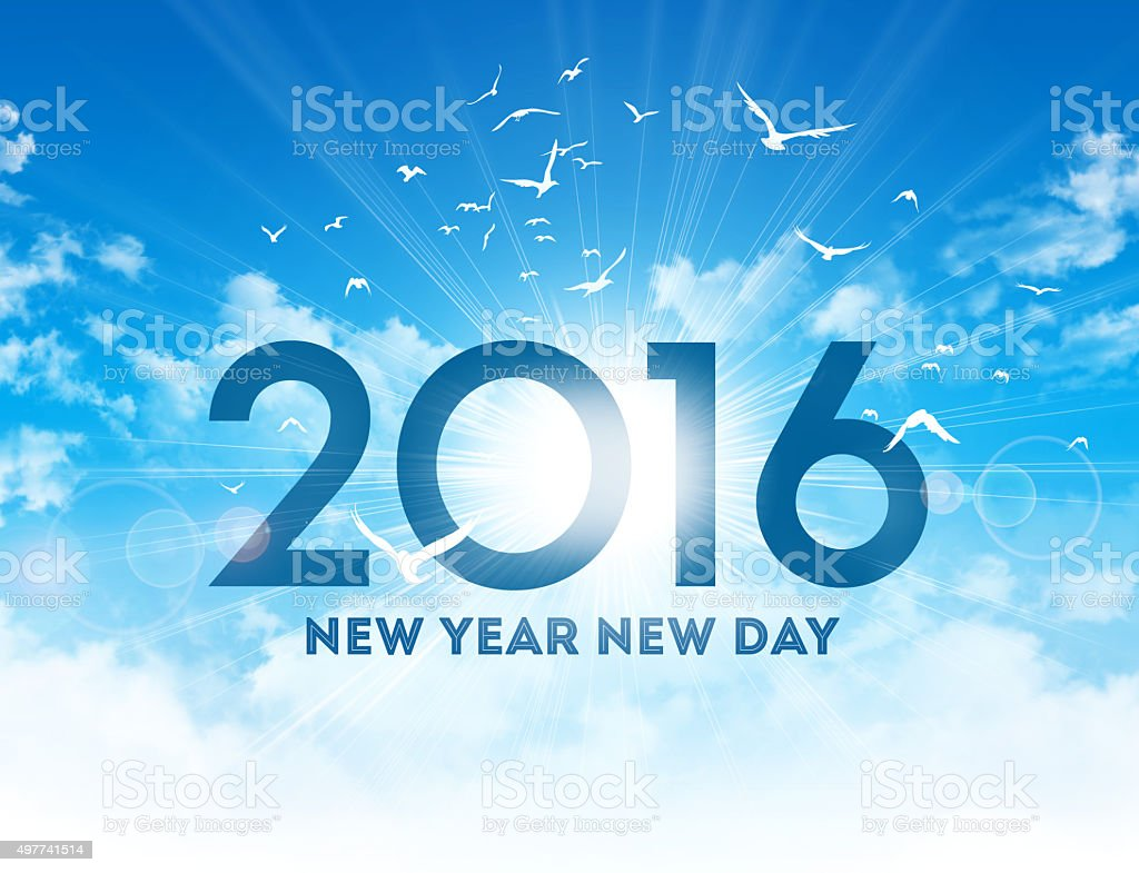 2016 new day greeting card stock photo