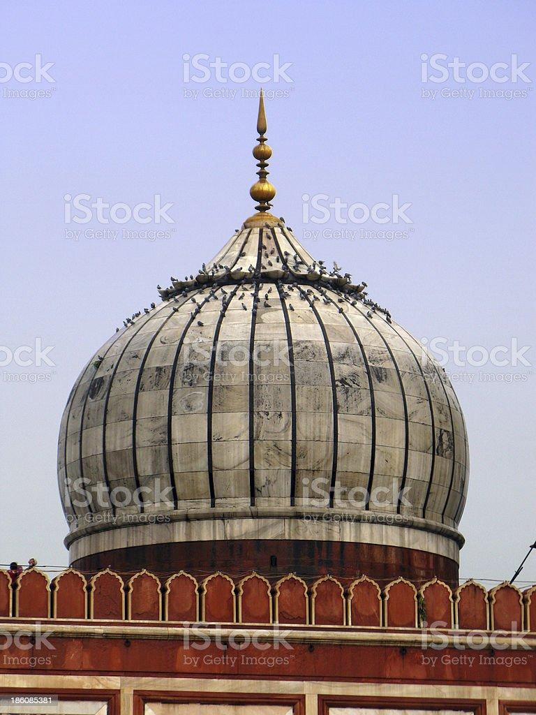 New Delhi: Central dome of Jama Masjid mosque. India royalty-free stock photo