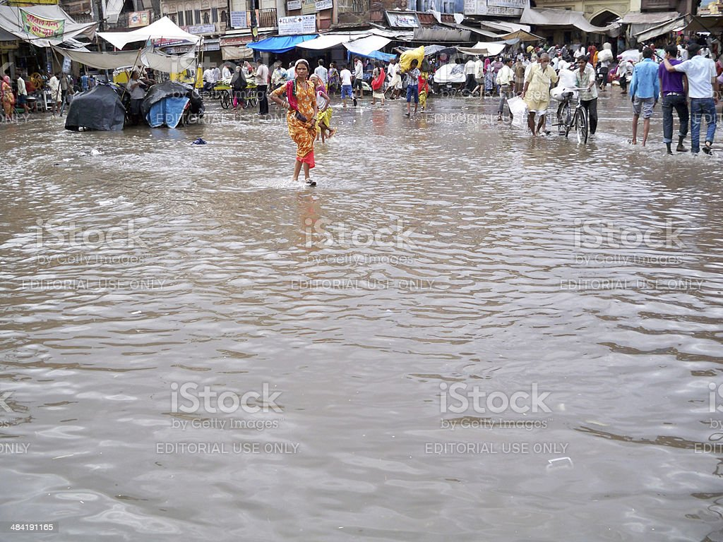 New Delhi Floods stock photo