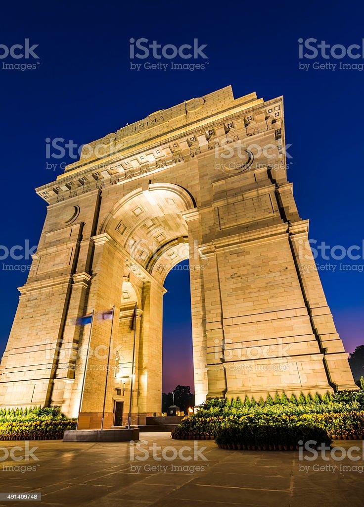 New Delhi Gateway of India at Blue Hour stock photo