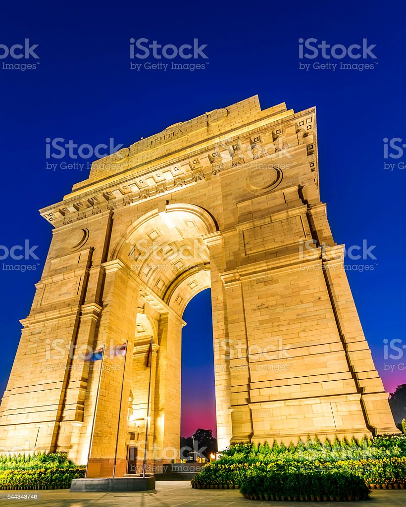 New Delhi Gateway of India at Blue Hour stock photo