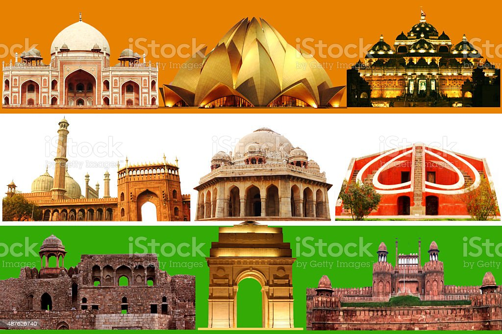 New Delhi, India monuments on Indian flag tri-color stock photo