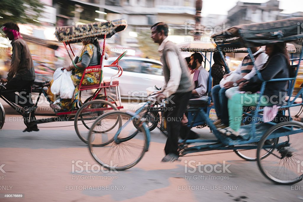New Delhi rickshaw tricycles royalty-free stock photo