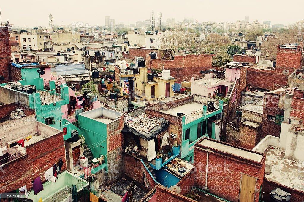 New Delhi slums stock photo