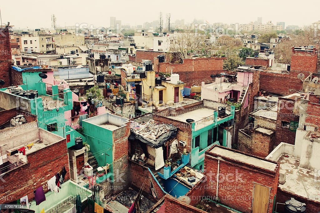 New Delhi slums stock photo