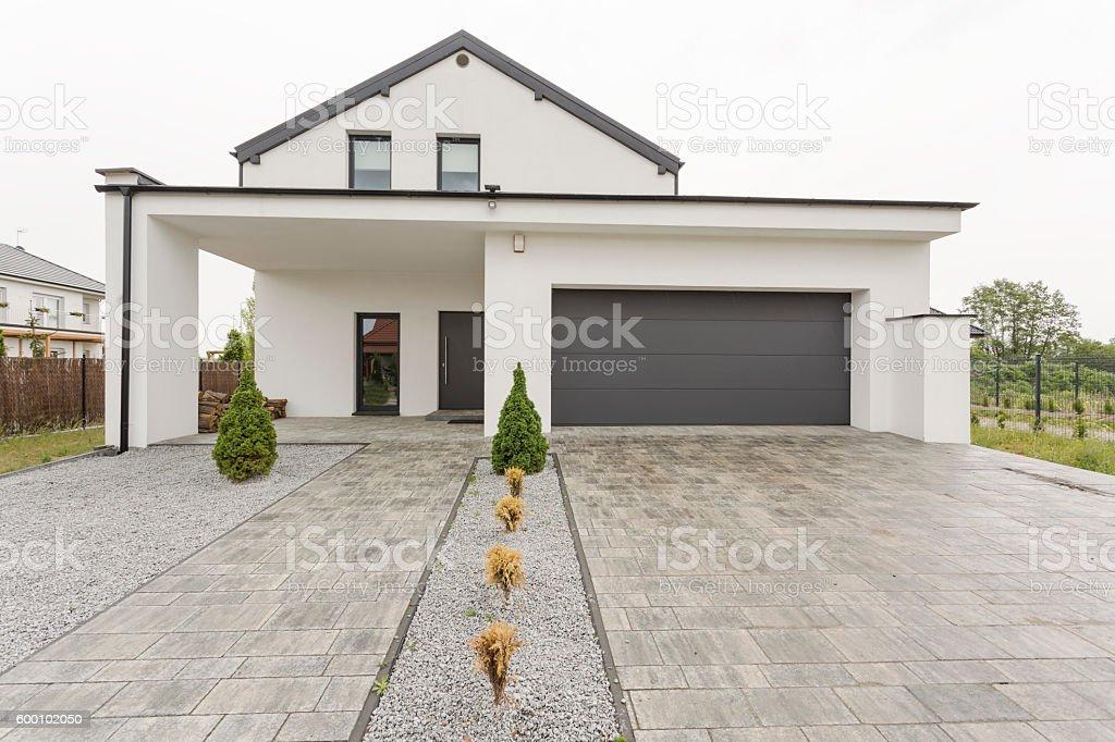New design white villa stock photo