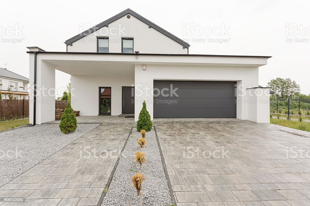 New design white villa stock photo