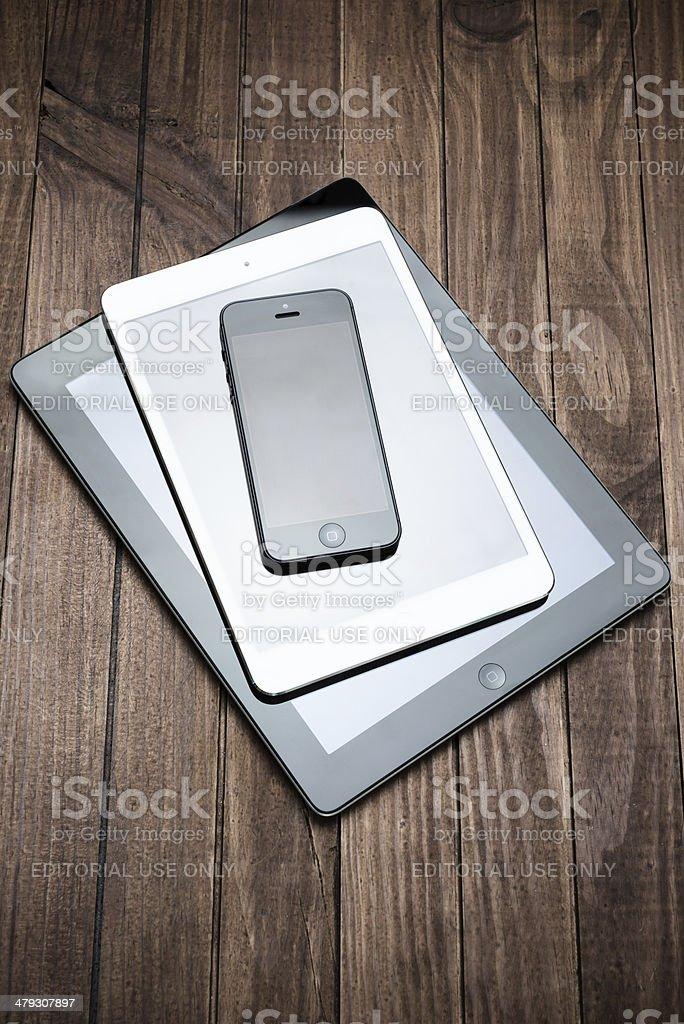 New devices on the table stock photo