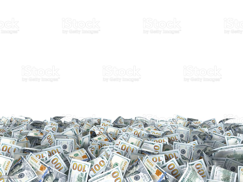 new dollars banknotes on the ground isolated on white stock photo