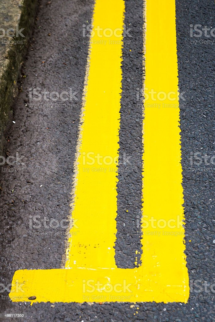 New Double Yellow Lines royalty-free stock photo