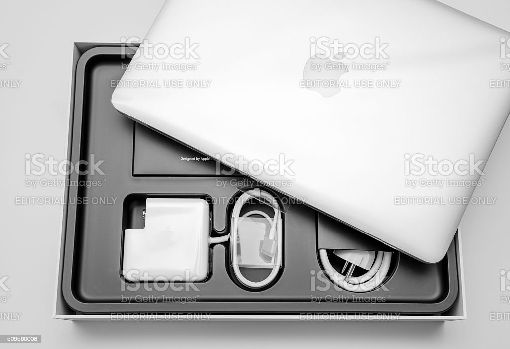 New dream laptop unboxing stock photo