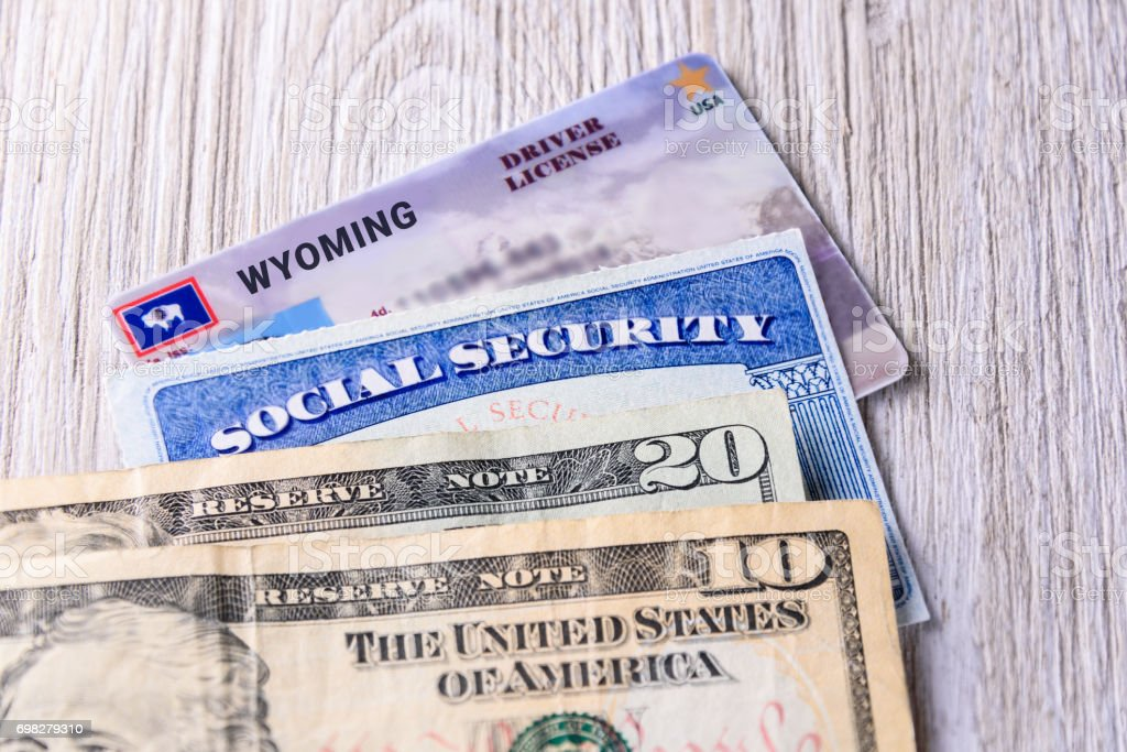 New driver license fee in Wyoming USA stock photo