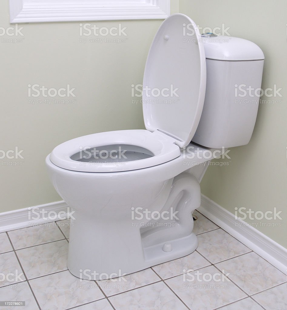 New dual flash water efficient model toilet stock photo